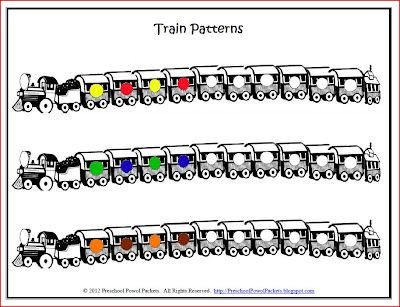 {FREE} Printable: Pattern Trains!  (very fun to use with M's!)