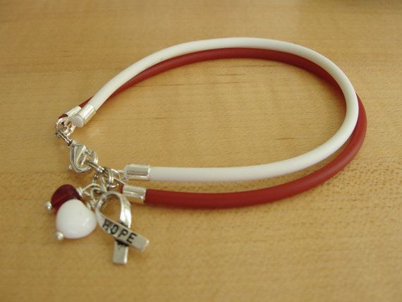 Burgundy and White Awareness Bracelet  Head and by Twenty2Roses, $6.50