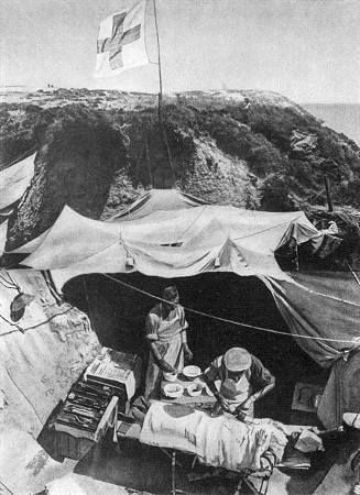 Çanakkale savaşları/ Gelibolu Bir ingiliz seyyar hastane.(Britischer Sanitätsunterstand auf Gallipoli)