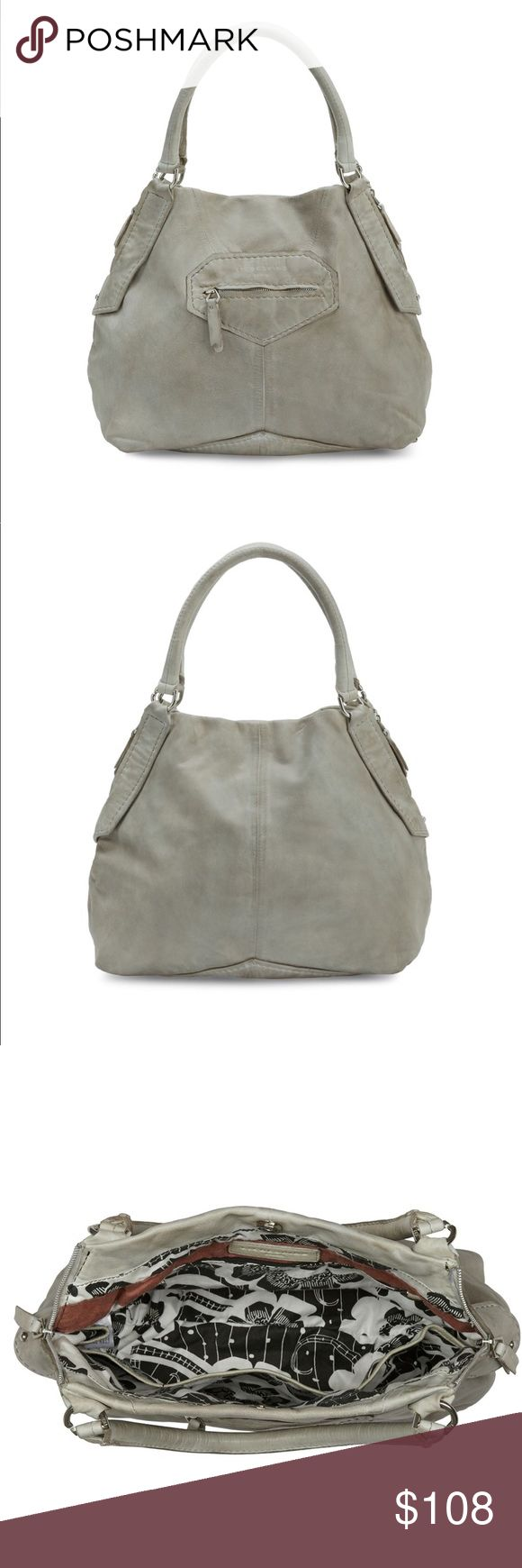 """Liebeskind Berlin Kumba Leather Overnight Hobo MSRP $378 LIEBESKIND Berlin Kumba Leather Overnight Hobo Bag. - Approx. H X W X D (In): 13.2 X 15.2 X 9.6; 8"""" handle drop, 14"""" strap drop  - Distressed, natural grain leather - Detachable shoulder strap - Dual top handles - Top zip closure - Grey Leather - Silver toned hardware - One outside zip compartment  - Printed fabric lining - One zip wall pocket - 3 slip pocket - Spacious compartment  **NEW EITH DEFECTS**. Minor exterior scuff/dirt marks…"""