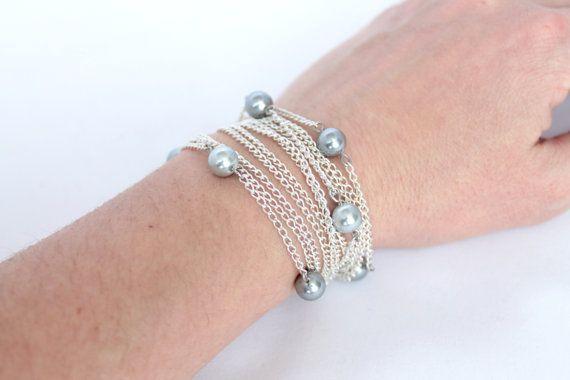 Pearl bracelet chain bracelet grey bracelet by NotYourMomsJewellery on Etsy