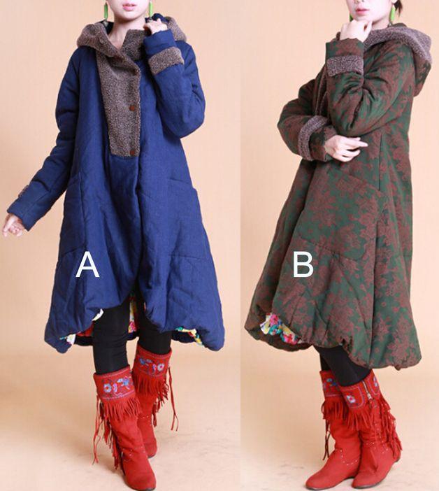 Giacche invernali - Due donne di colori addensare lungo cappotto - un prodotto unico di minyaZhou su DaWanda