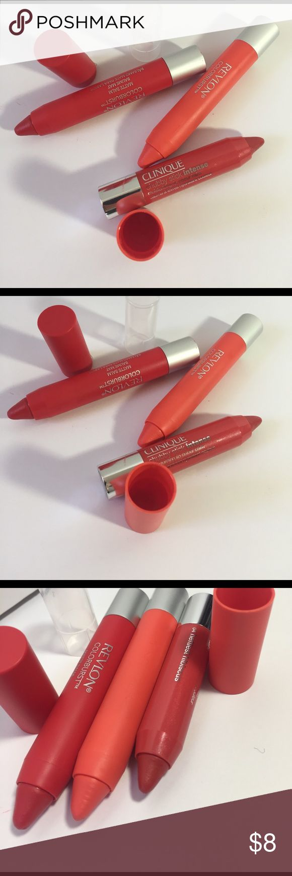 Clinique & Revlon stick bundle Swatched to see color payoff, Revlon Color Burst Matte Balm in 245, audacious and 240, striking spectacular and Clinique chubby stick intense moisturizing lip color balm in hibiscus. Bundle Clinique Makeup Lip Balm & Gloss