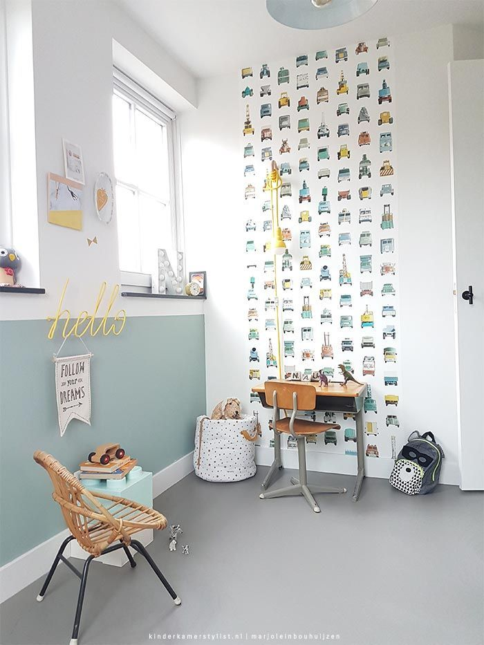 The wallpaper print is great inspiration for DIY decal decor in a kids room