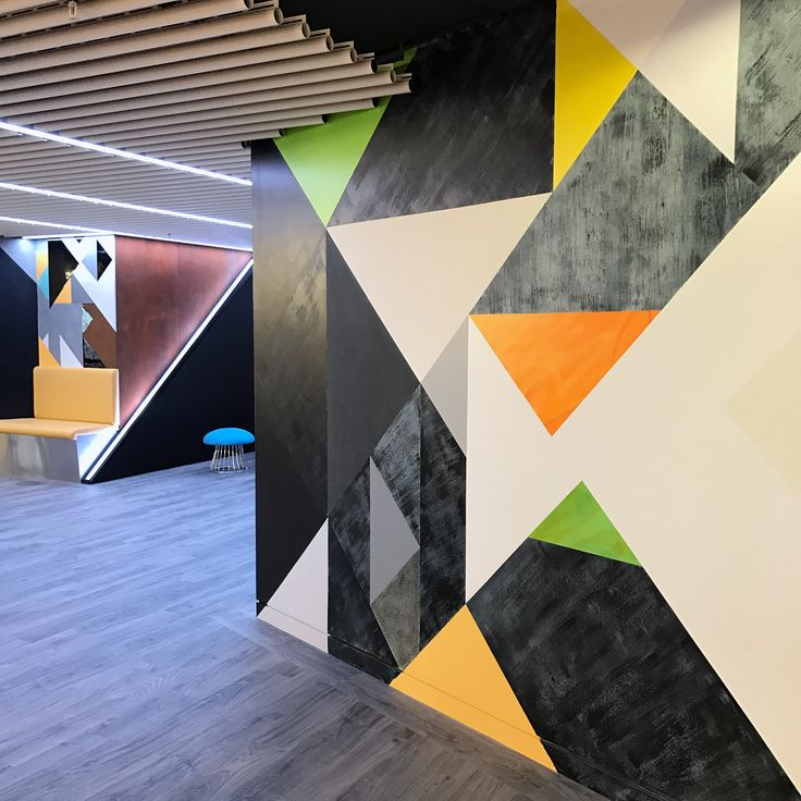 Level 39 - floor to ceiling hand-painted mural for the new office.