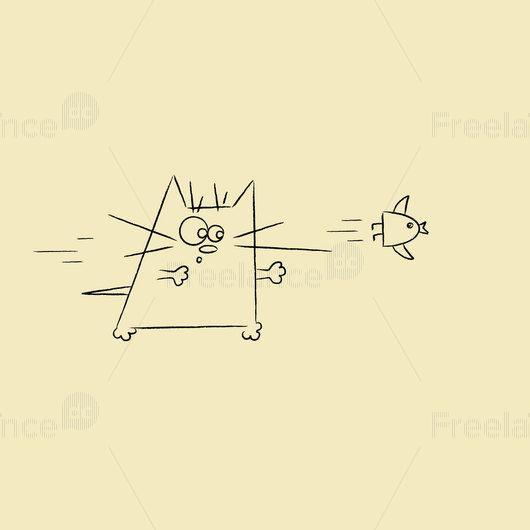 Cat and bird. #cat #bird #graphics #arts #vector #design #freelancediscount