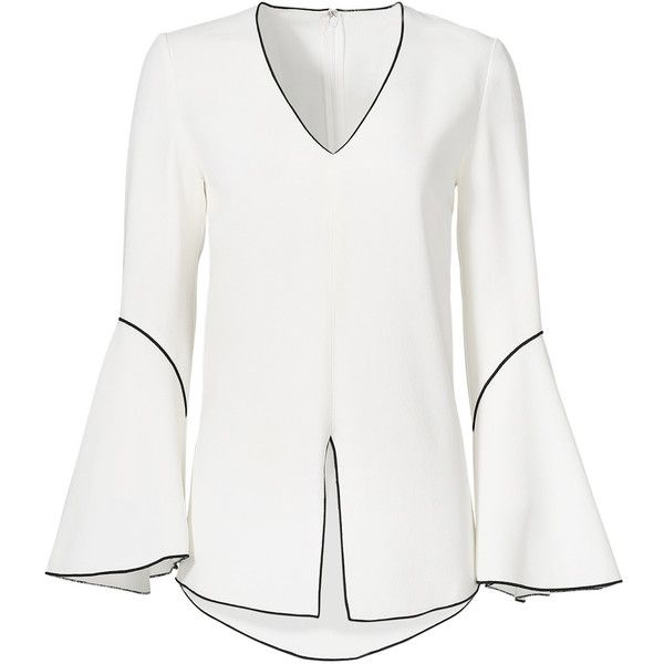 Rental DEREK LAM White Bell Sleeve Piping Blouse ($150) ❤ liked on Polyvore featuring tops, blouses, dresses, white, v neck long sleeve top, white blouse, long sleeve blouse, v neck blouse and v neck tops