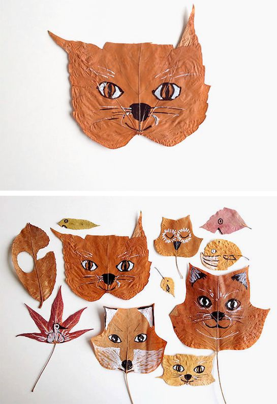 These adorable DIY decorations are made with markers and dried leaves.