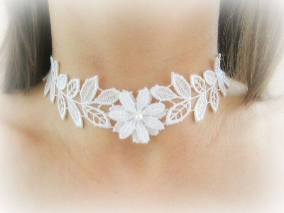 Flower lace choker necklace floral lace by MalinaCapricciosa
