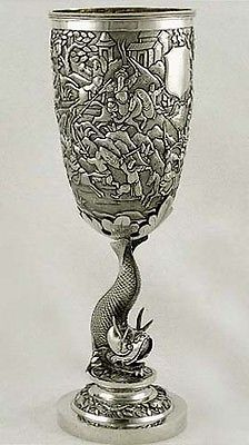 Chinese Export Silver Warrior Dragon Goblet c1850 French Import Mark RARE