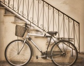 SHOP ON VACATION- School Days, 8x8 inches fine art photograph, nostalgic street scene in sepia tones, bicycle and old stairs
