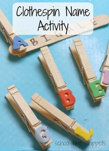 Kindergarten Free Idea: Clothespin Name Activity for preschoolers; letter and name recognition and fine motor skills, too.