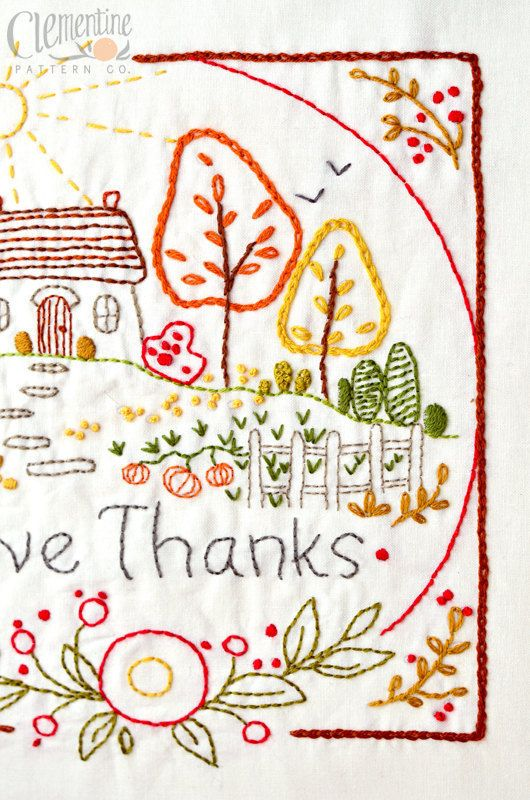 Give Thanks Autumn 100 Cotton Embroidery Pattern Thanksgiving Embroidery Patterns Redwork Patterns Tea Towels Embroidery