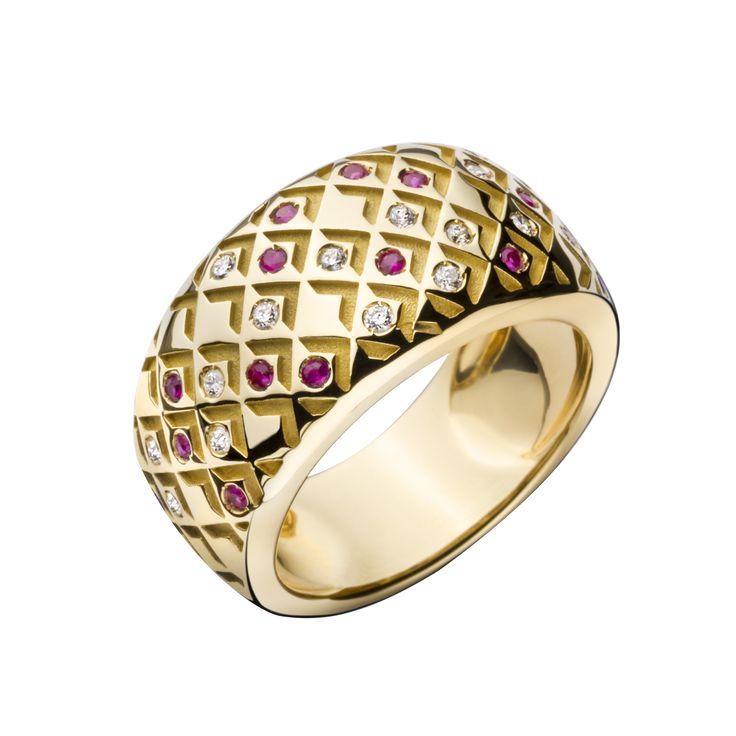 Bague Salomé, pavage rubis et diamants Grand Modèle, or jaune - Mauboussin