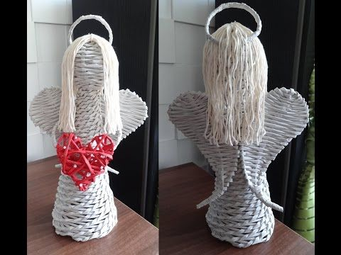 Pletení z papíru - anděl z papírových ruliček (Angel of paper rolls) DIY - YouTube