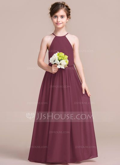 A-Line/Princess Scoop Neck Floor-Length Zipper Up Spaghetti Straps Sleeveless No Burgundy General Chiffon Junior Bridesmaid Dress