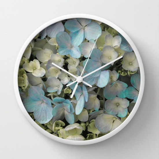 White Hydrangeas Floral Wall Clock, Shabby Chic Clock, Gifts for Her, Mothers Day Gift.