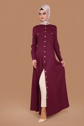 G.M.Z. Tesettür - Önden Düğmeli Elbise Tunik MSW8807 Bordo