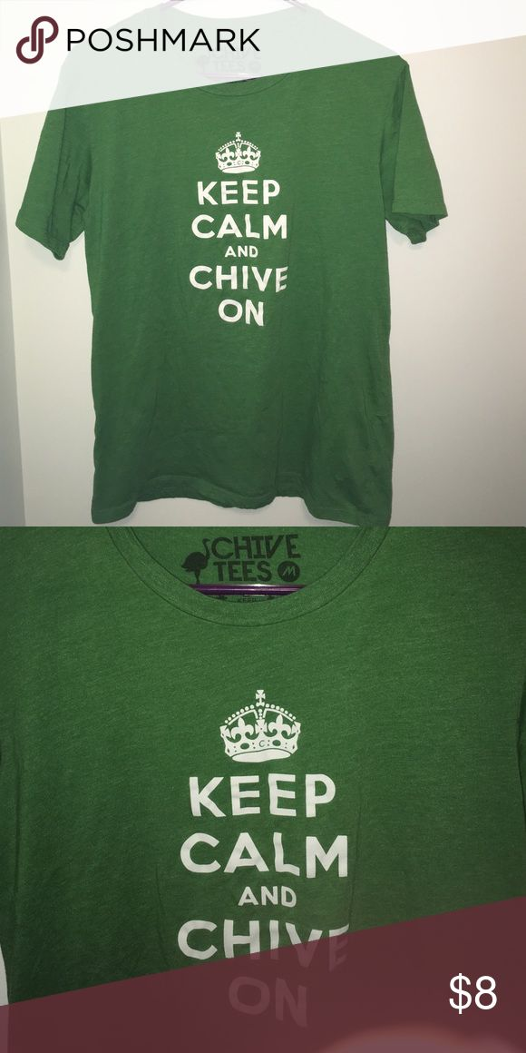 "KEEP CALM AND CHIVE ON T SHIRT Size M. Chest across 16"". Length from shoulder 26"". chive tees Tops Tees - Short Sleeve"