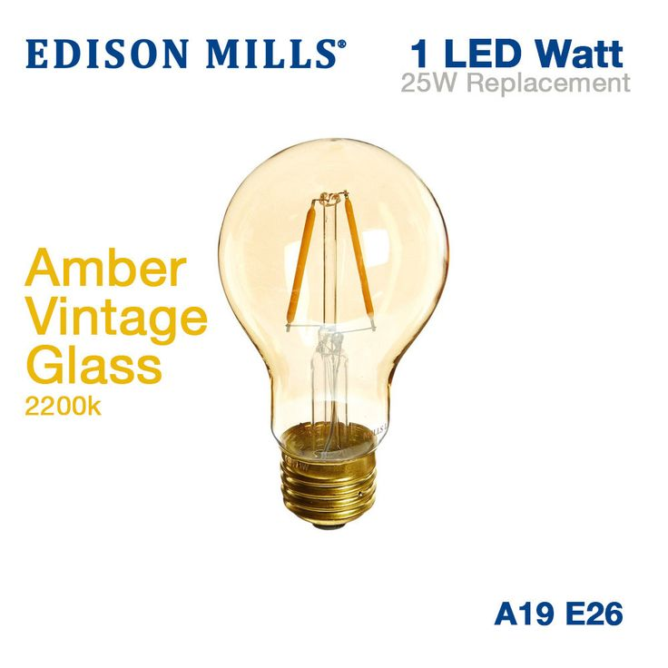 Edison Mills A19 Victorian LED Filament Light Bulb 1W 2200K Vintage Amber Glass