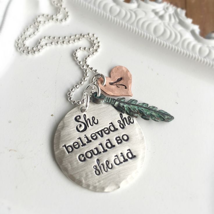She Believed personalized necklace in mixed metals.