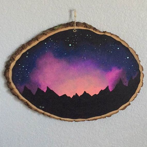 Night Sky Painting on wood slice by KittenMeRightMeowArt on Etsy
