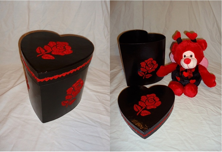Heart shaped hard board black gift-box & Teddy. Sold separately as well.