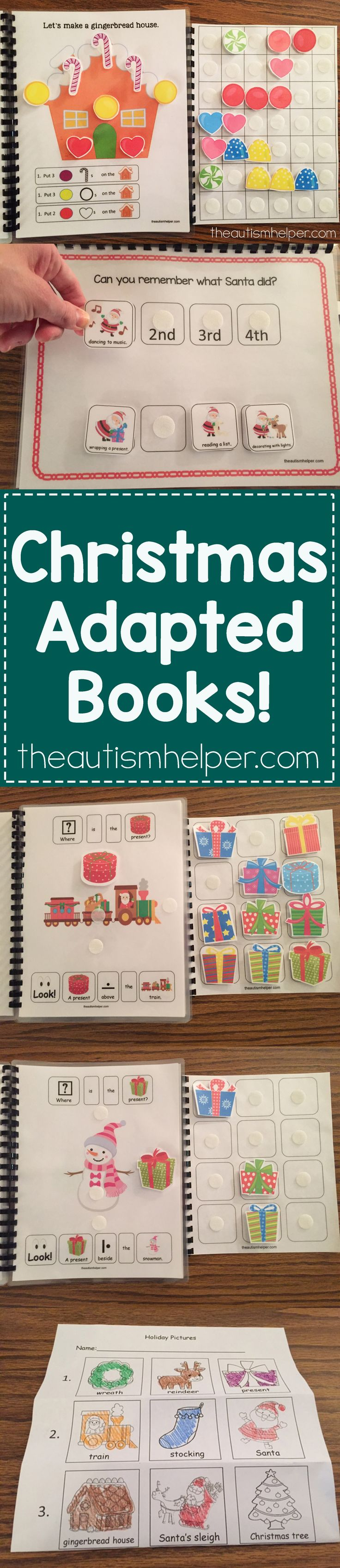 We're sharing Christmas Adapted Books & FREE Christmas Identification Board activity. Don't miss out!! From theautismhelper.com #theautismhelper