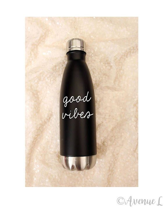 Good Vibes Water Bottle  Metal Water Bottle  17oz  Fitness