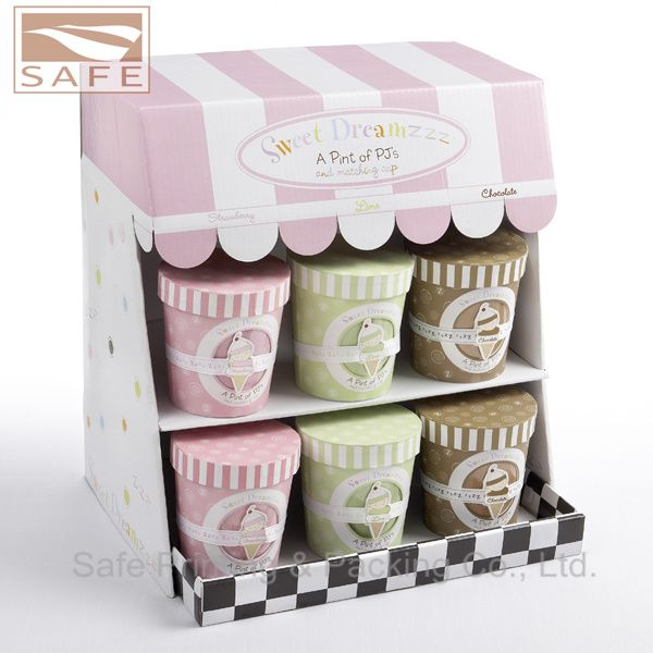 Cardboard Product Display Boxes | Tiered Cosmetic Cardboard Display Counter For Supermarket