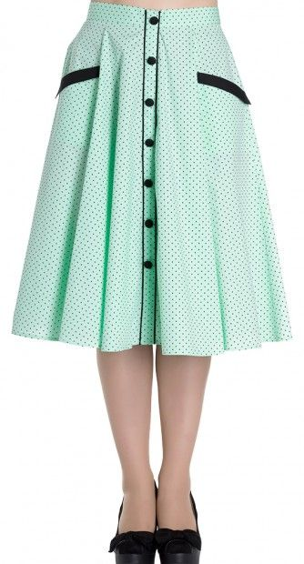 The Martie 50's Skirt in Mint is all about simplicity. From the classic retro polka dot pattern, to the high waisted full swing skirt shape.
