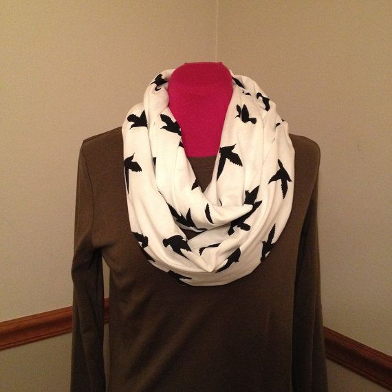 Just Between You & Me (TM) Infinity Nursing Scarf - BLACK BIRDS on white nursing cover Ships in 1-3 business days