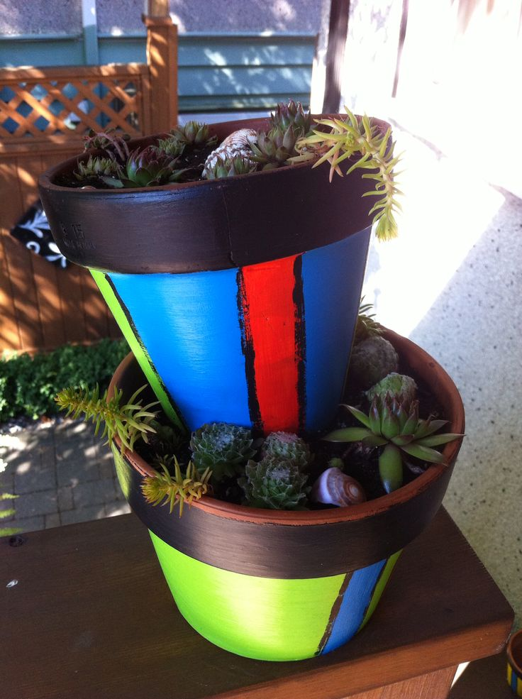Summer 2014 Hand painted terracotta pots with baby succulents and seashells