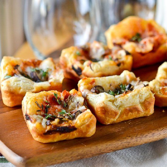 Made with puff pastry crust, these little pizzas use whatever you have on hand and are perfect for sports parties, showers & more!