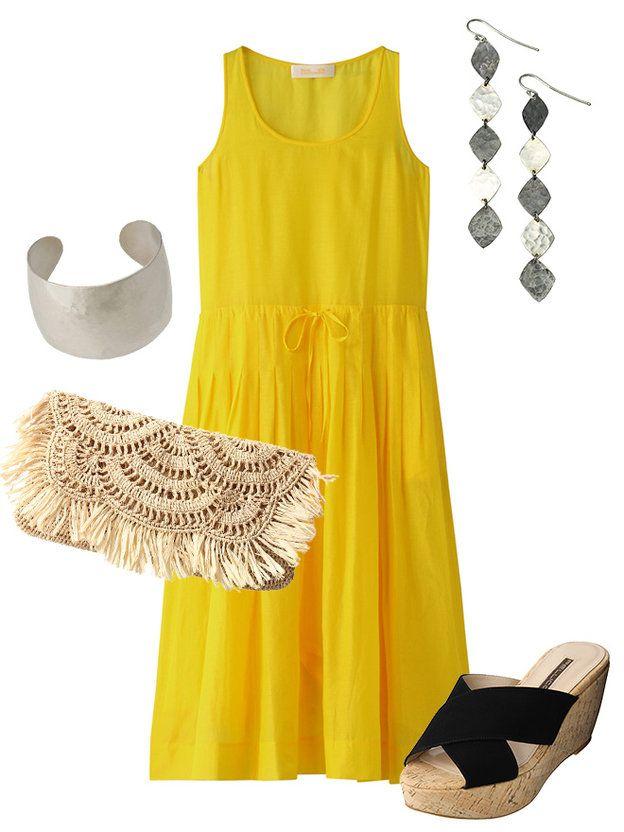 【ELLE】サマードレスとインパクティブなアクセサリーでつくるディナースタイル|ナイトアウトで輝く! 鮮やかなドレスとアクセサリーでディナーへお出かけ|エル・オンライン