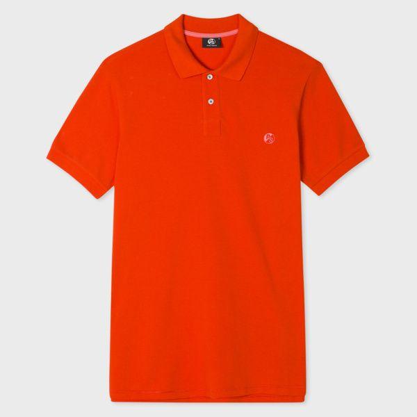 Men's Red PS Logo Organic-Cotton Polo Shirt