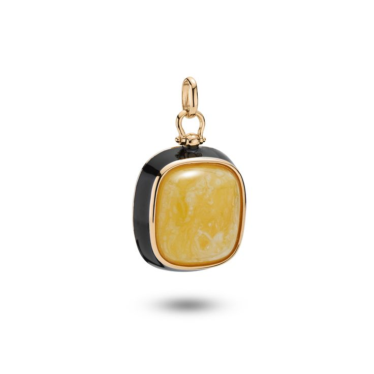 House of Amber - A pendant in rose gold sterling silver, black enamel, and milky amber. This lovely pendant has a timeless design and is a part of the Enlightened Enamel Collection.