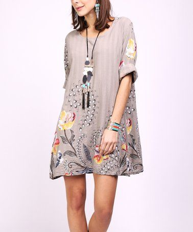 3ee44387f89 Look what I found on  zulily! Taupe Floral Shift Dress - Women ...