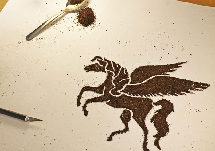 Coffee grounds become a package illustration...Dark Matter Astronaut Coffee. Designed by Astronaut Studio