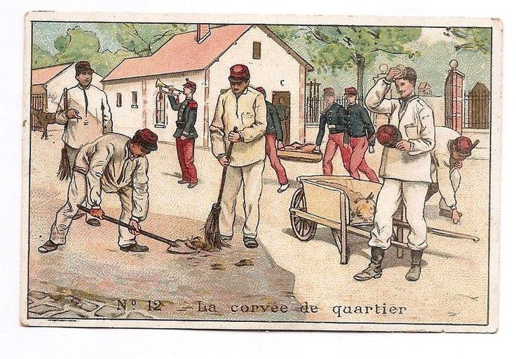 La corvée de quartier - Soldats caserne - Chromo Chocolat Rationnel - Trade Card