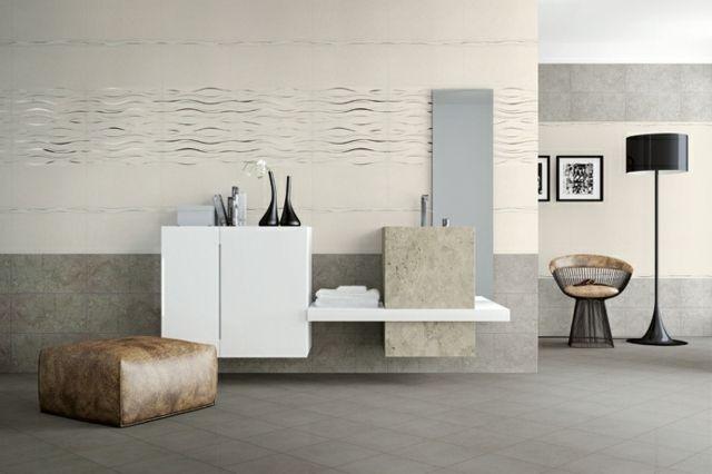 modernes Bad minimalistisches Design Naturstein Farben