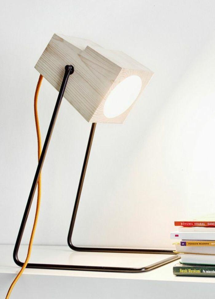 magnifique lampe de bureau en bois clair, lampe de bureau en fer et bois