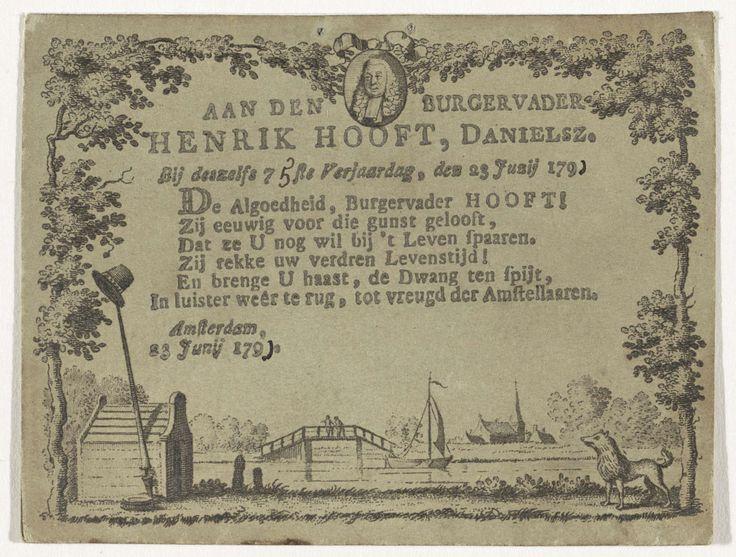 Anonymous | Kaartje bij de 75ste verjaardag van Hendrik Hooft Danielsz., Anonymous, 1791 | Kaartje met vers ter gelegenheid van de 75ste verjaardag van Hendrik Hooft Danielsz., op 23 juni 1791. Zesregelig vers binnen een kader met boven een portret en onder een landschap met hondenhok en keeshond. Cijfers met de hand aangevuld.