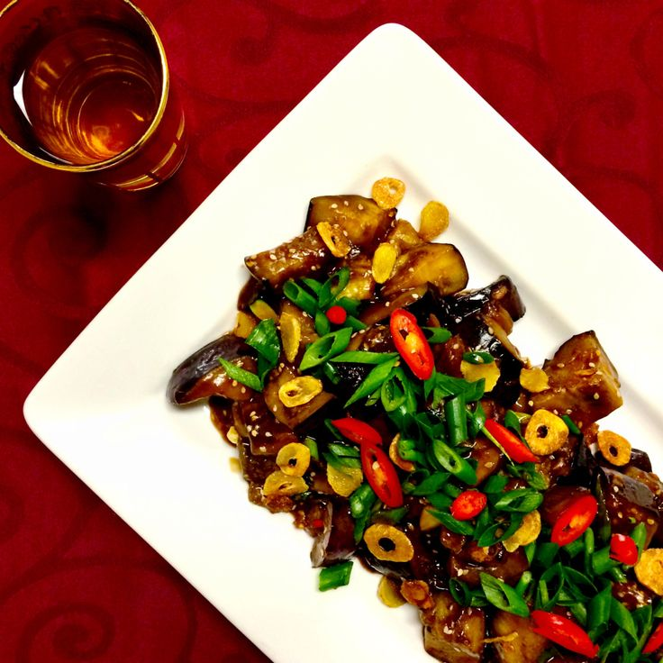 Chinese Braised Eggplant with Fried Ginger - Shine Dining