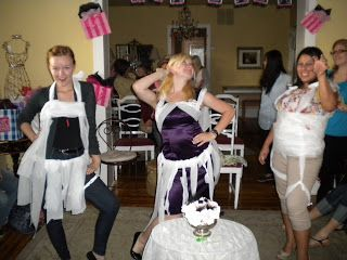 A bridal shower game: make lingerie out of toilet paper. So much fun! - Behind the Red Door