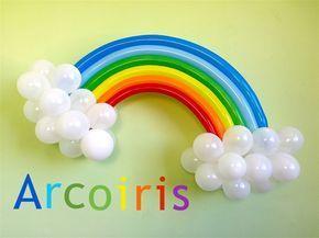Como hacer un arcoiris con globos para decoraciones My little pony