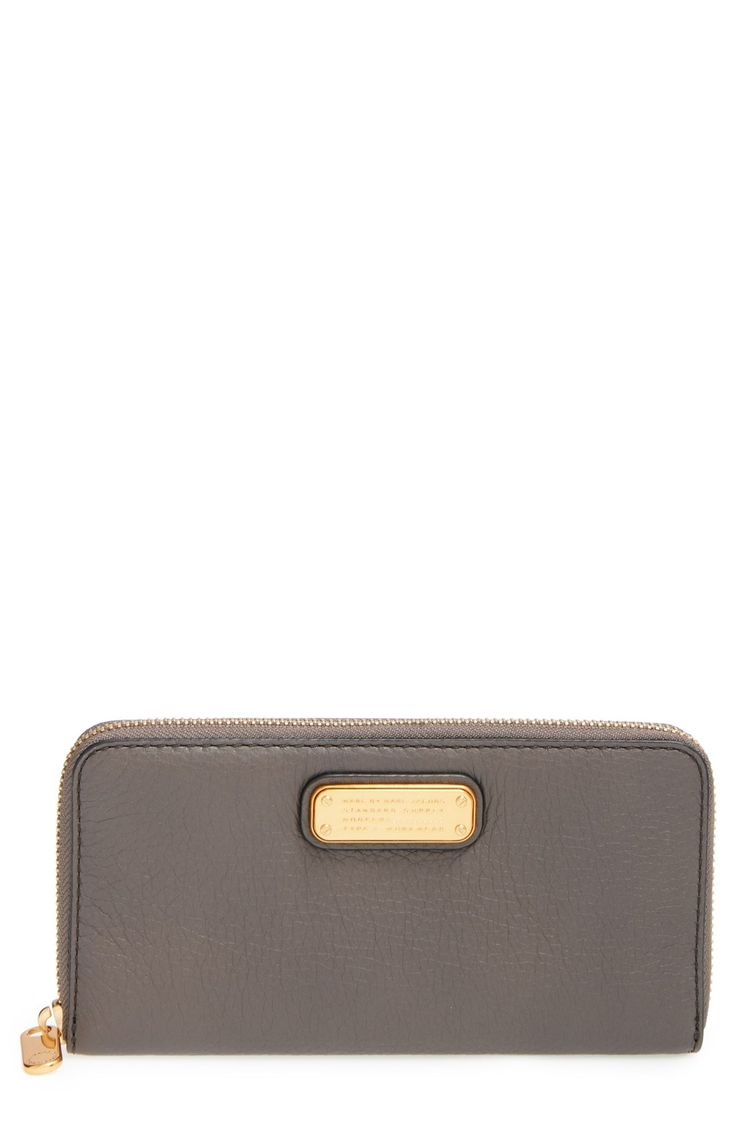 """MARC BY MARC JACOBS 'New Q - Vertical Zippy' Wallet-color """"faded aluminum"""" or black"""