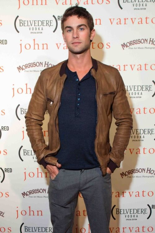 the leather bomber - Chace Crawford at the John Varvatos party.