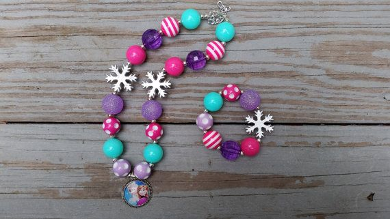 Girls Frozen Necklace Frozen Chunky Bubblegum by CountryCoutureCo