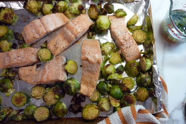 Salmon &amp Brussel Sprouts W/ Ginger Scallion Sauce  Whats For Dinner